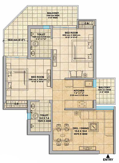 1000 2BHK Sq. Ft.