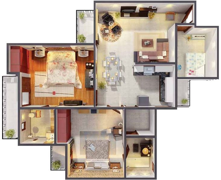 1165 Sq. Ft 2 BHK